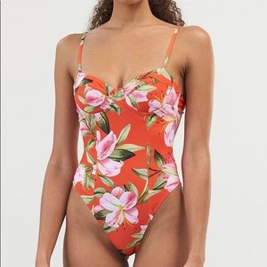 Mara Hoffman Red Desiree one piece floral bikini